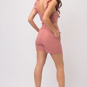 Pants & Jumpsuits - RUFFLE SLVLESS SIDE OPEN GRID CHECK ROMPER